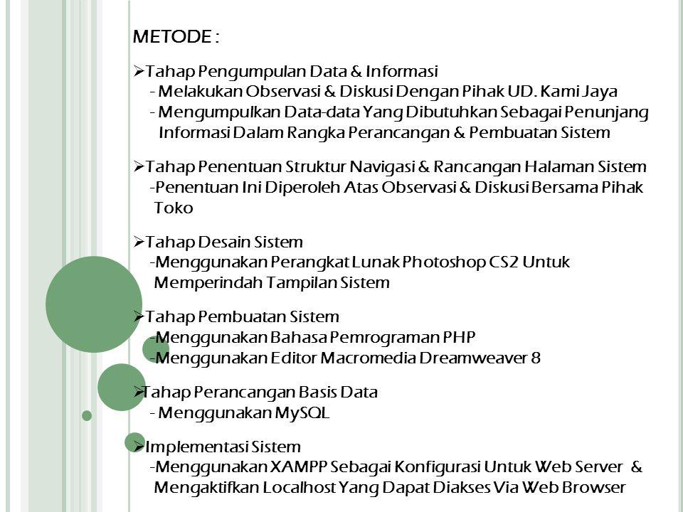METODE :  Tahap Pengumpulan Data & Informasi - Melakukan Observasi & Diskusi Dengan Pihak UD. Kami Jaya - Mengumpulkan Data-data Yang Dibutuhkan Seba