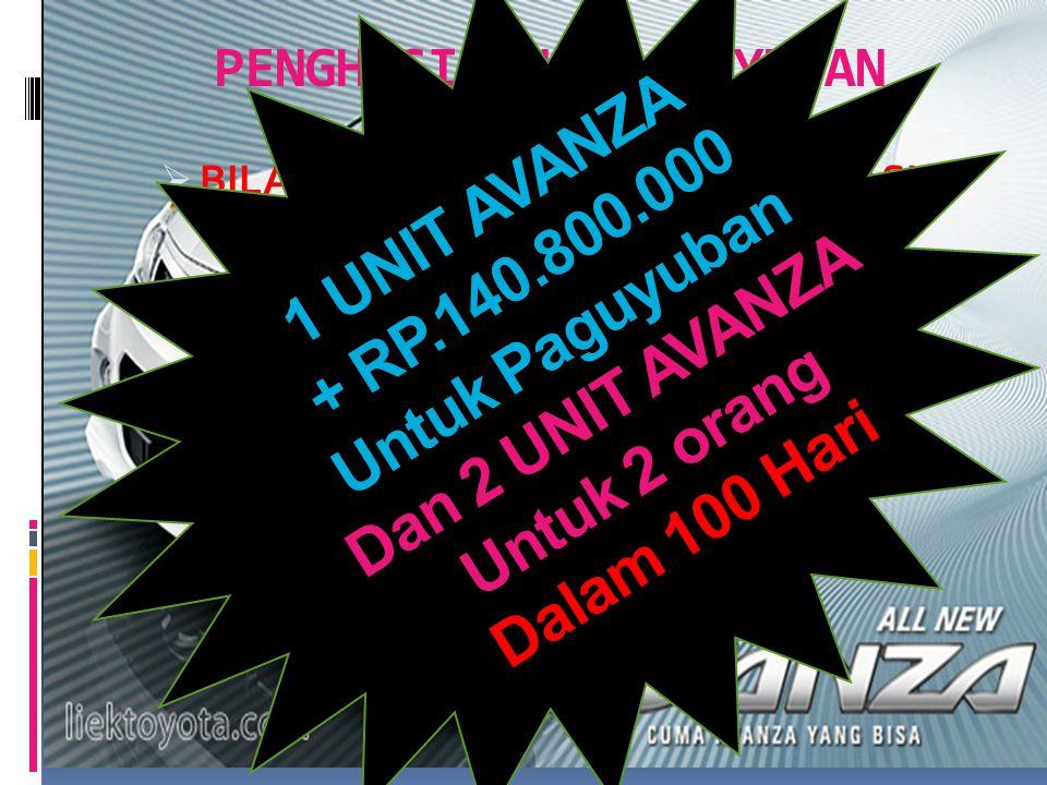 6400 BOTOL PAGU YUBAN 2 BOTOL /hari 100 HARI 200.000 Per paket 200.000 Per paket 2 BOTOL /hari 320 paket 200.000 perpaket 1 unit AVANZA Untuk Paguyuban Dan 2 unit untuk 2 orang 200.000 Per paket 320 paket