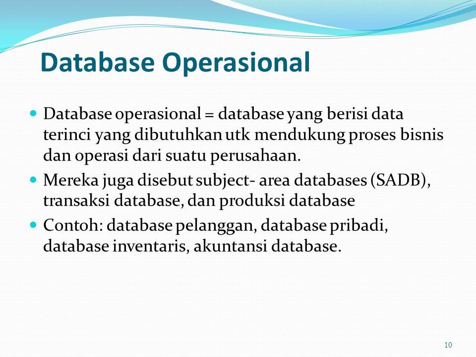 Database Operasional  Database operasional = database yang berisi data terinci yang dibutuhkan utk mendukung proses bisnis dan operasi dari suatu perusahaan.