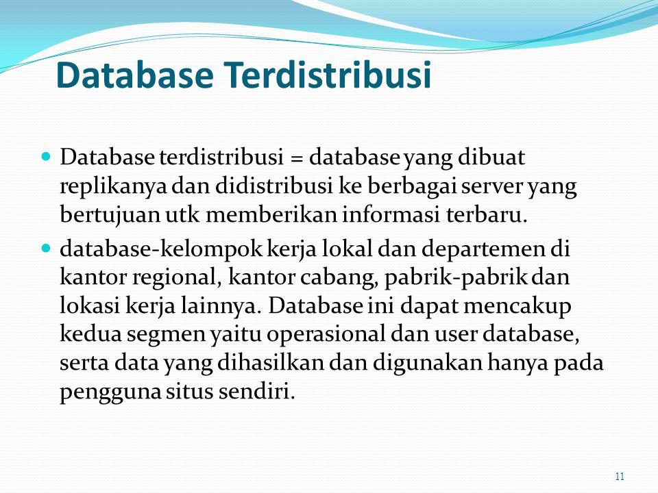 Database Terdistribusi  Database terdistribusi = database yang dibuat replikanya dan didistribusi ke berbagai server yang bertujuan utk memberikan informasi terbaru.