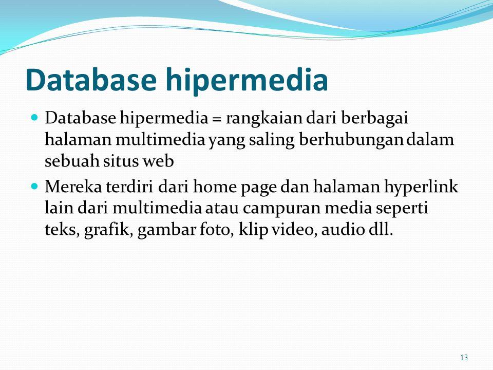 Database hipermedia  Database hipermedia = rangkaian dari berbagai halaman multimedia yang saling berhubungan dalam sebuah situs web  Mereka terdiri dari home page dan halaman hyperlink lain dari multimedia atau campuran media seperti teks, grafik, gambar foto, klip video, audio dll.