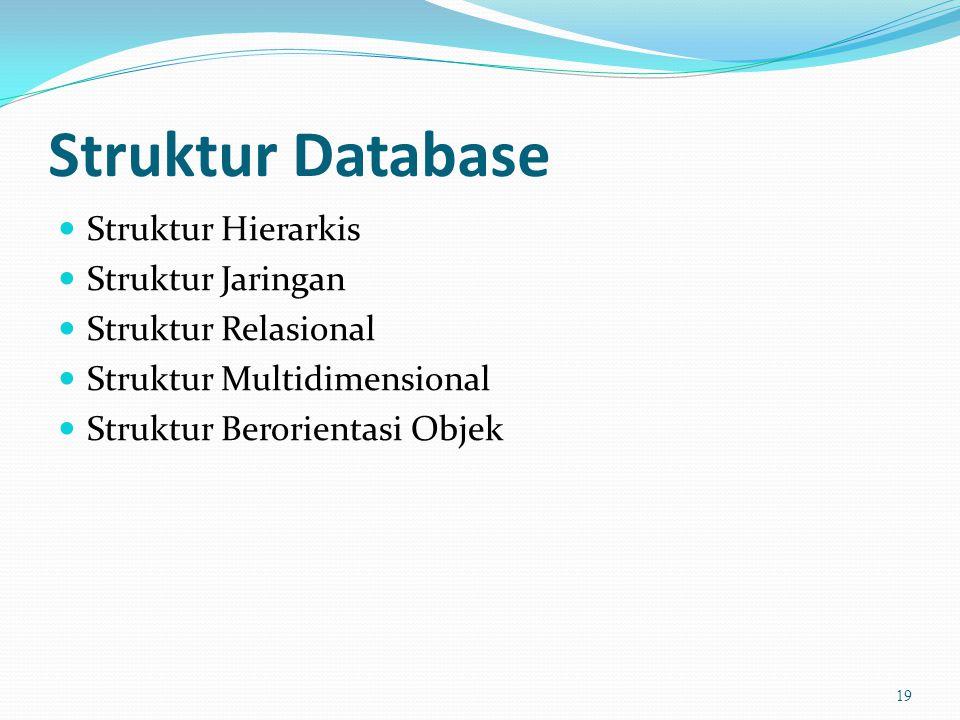 Struktur Database  Struktur Hierarkis  Struktur Jaringan  Struktur Relasional  Struktur Multidimensional  Struktur Berorientasi Objek 19