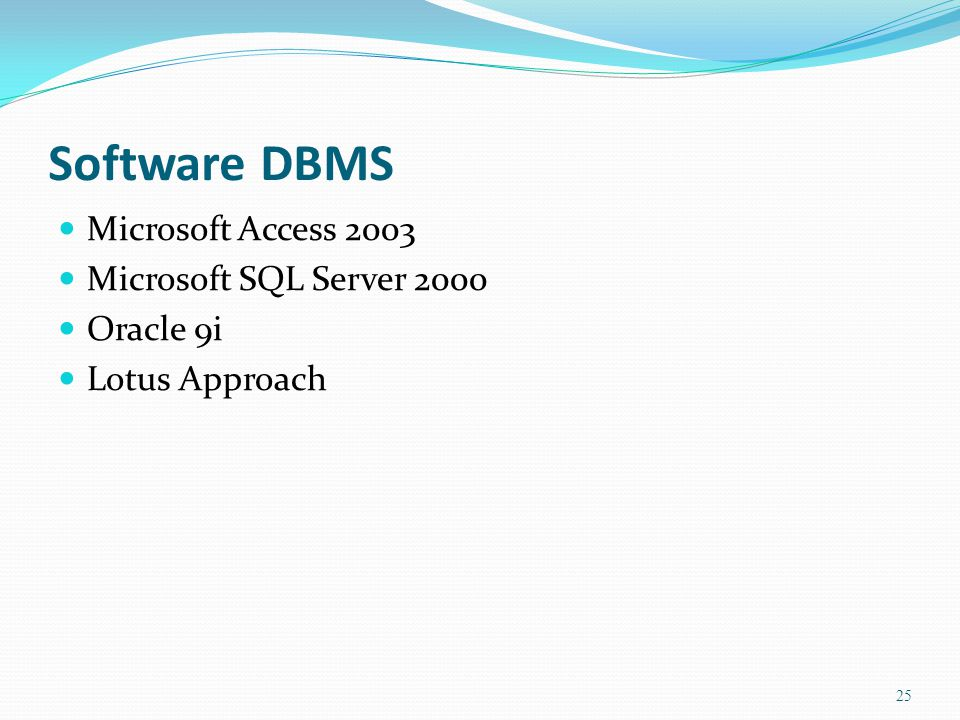 Software DBMS  Microsoft Access 2003  Microsoft SQL Server 2000  Oracle 9i  Lotus Approach 25