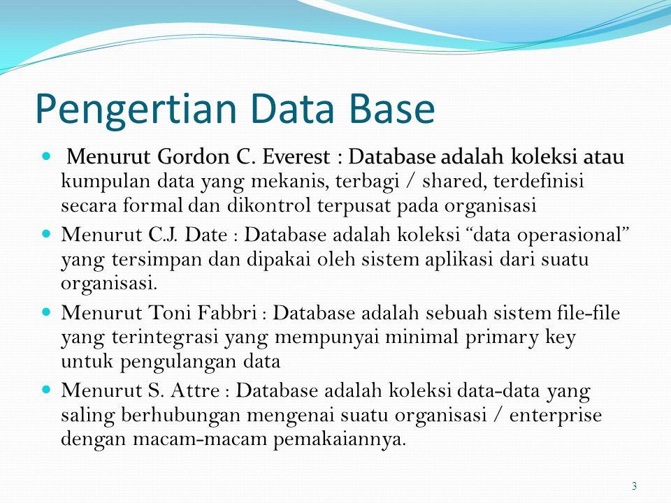 Database  Database adalah kumpulan data yang saling berhubungan yang diatur secara logis yang dirancang dan dibangun untuk tujuan khusus.database disini adalah representasi dari sebuah teknologi untuk mengumpulkan banyak fakta yang memungkinkan Anda untuk memotong dan membuang, dan menggabungkan serta memasangkan data dengan beragam cara.