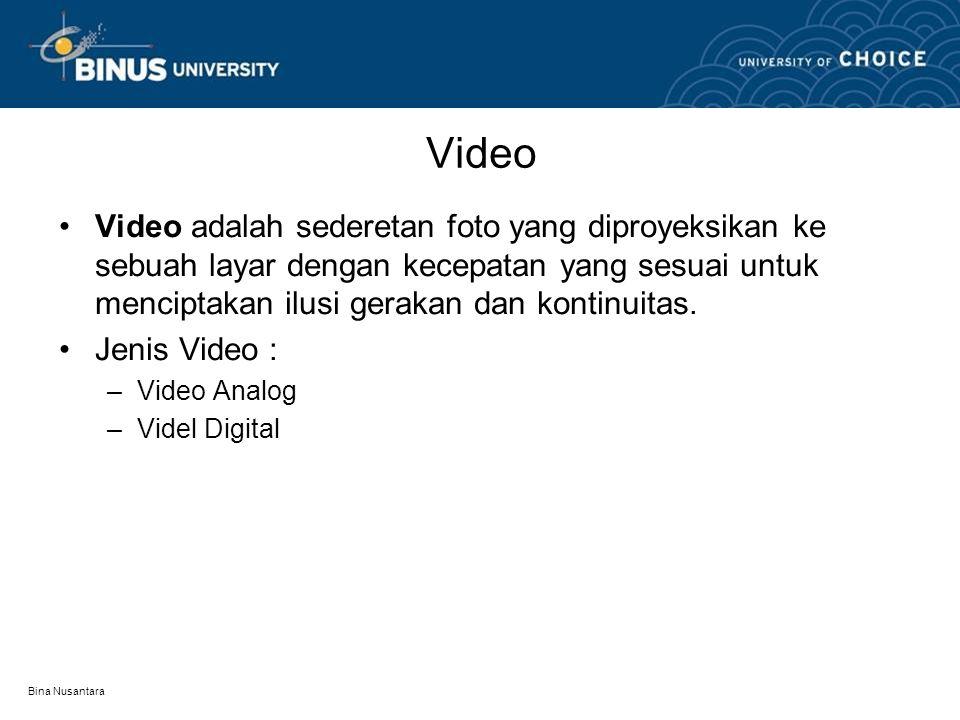 Bina Nusantara Video Analog •Video analog adalah proses pengambilan sinyal suara atau video (suara manusia) dan menerjemahkannya menjadi pulsa (getaran) elektronik.