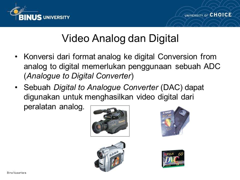 Bina Nusantara Editing pada Video Analog dan Digital •Editing pada video analog merupakan suatu proses linear –Untuk menemukan bagian yang diinginkan, video tape harus diputar ke depan (forward) dan ke belakang (rewind).
