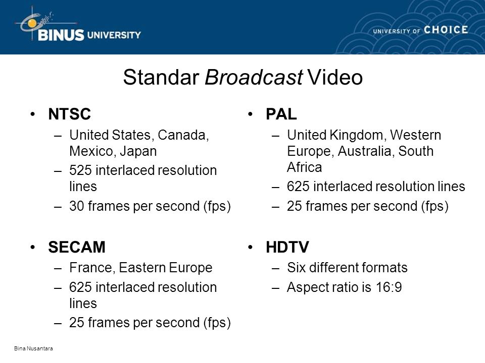 Bina Nusantara Standar Broadcast Video •NTSC –United States, Canada, Mexico, Japan –525 interlaced resolution lines –30 frames per second (fps) •SECAM