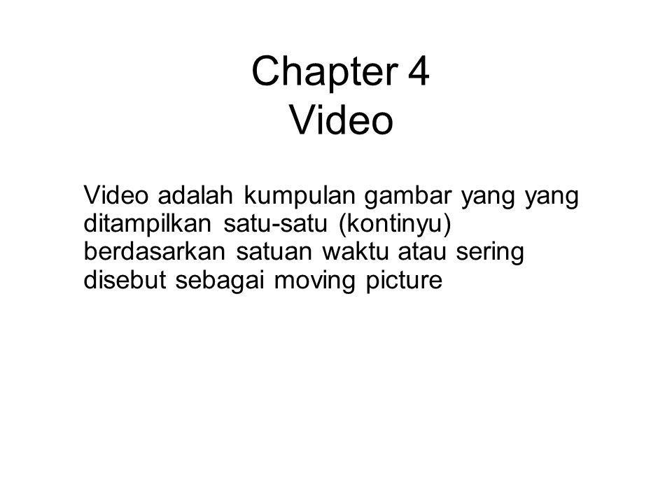 Chapter 4 Video Video adalah kumpulan gambar yang yang ditampilkan satu-satu (kontinyu) berdasarkan satuan waktu atau sering disebut sebagai moving pi