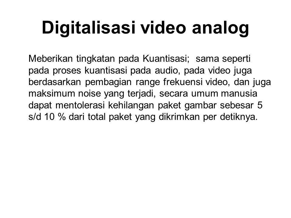 Digitalisasi video analog Meberikan tingkatan pada Kuantisasi; sama seperti pada proses kuantisasi pada audio, pada video juga berdasarkan pembagian r