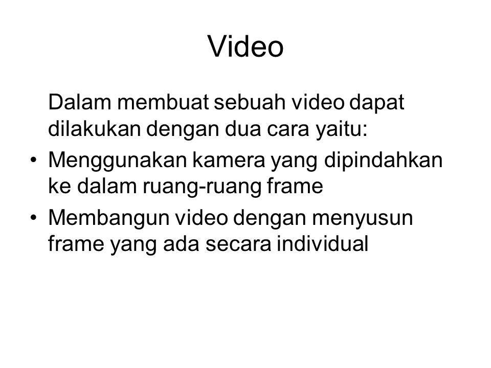 Video Dalam membuat sebuah video dapat dilakukan dengan dua cara yaitu: •Menggunakan kamera yang dipindahkan ke dalam ruang-ruang frame •Membangun vid