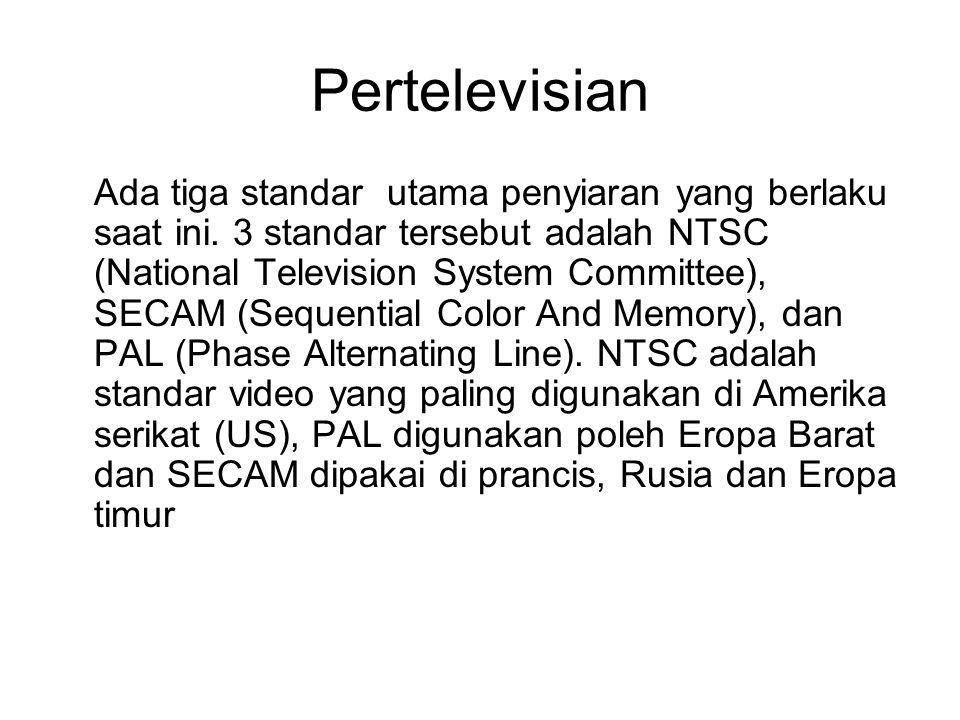 Pertelevisian Frame/Field Rate (per sec) Scan Lines Aspect Ratio Horizontal/Vertical frequency Worldwide Standard NTSC29.97 / 59.94 525 (480)4 : 315.734 kHZ / 60 HZ US, Japan, Taiwan, … PAL25 / 50 625 (576)4 : 315.652 kHZ / 50 HZ Western Europe, … SECAM 25 / 50 625 (576)4 : 315.652 kHZ / 50 HZ France, …