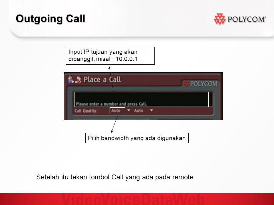 Outgoing Call Input IP tujuan yang akan dipanggil, misal : 10.0.0.1 Pilih bandwidth yang ada digunakan Setelah itu tekan tombol Call yang ada pada rem