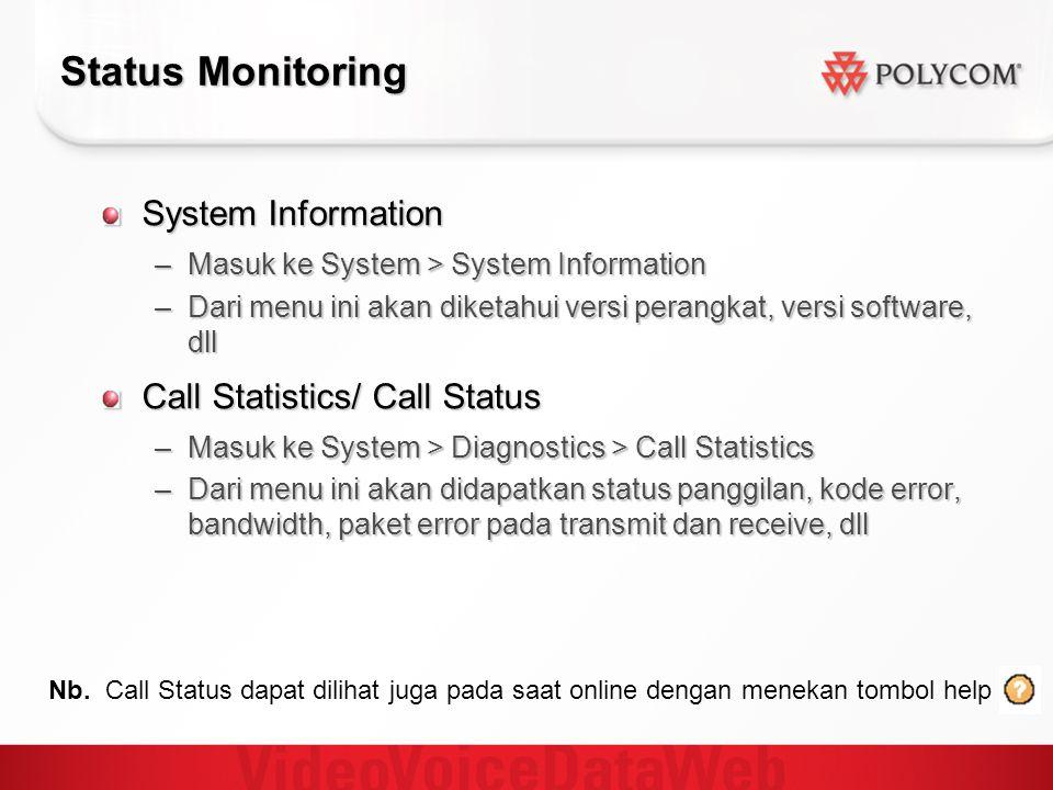 Status Monitoring System Information –Masuk ke System > System Information –Dari menu ini akan diketahui versi perangkat, versi software, dll Call Sta