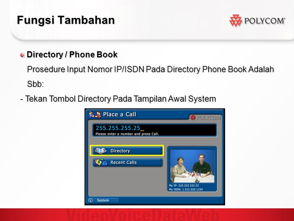 Fungsi Tambahan Directory / Phone Book Directory / Phone Book Prosedure Input Nomor IP/ISDN Pada Directory Phone Book Adalah Prosedure Input Nomor IP/