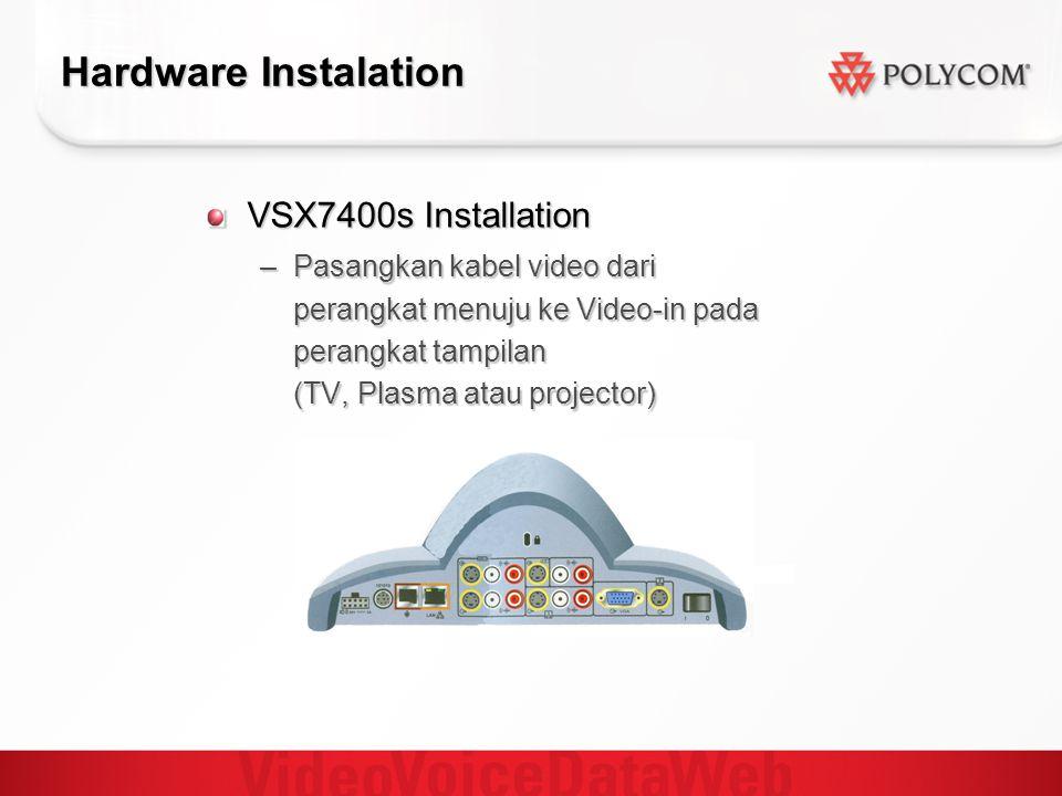 Hardware Instalation VSX7400s Installation –Pasangkan kabel video dari perangkat menuju ke Video-in pada perangkat tampilan (TV, Plasma atau projector