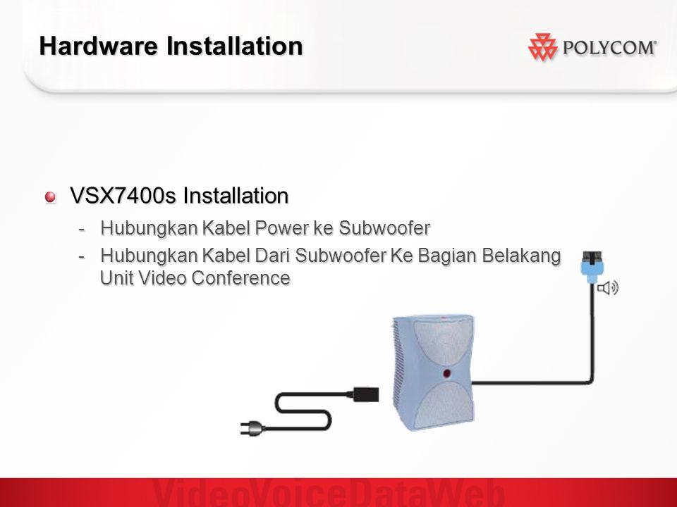 Hardware Installation VSX7400s Installation - Hubungkan Kabel Power ke Subwoofer - Hubungkan Kabel Dari Subwoofer Ke Bagian Belakang Unit Video Confer