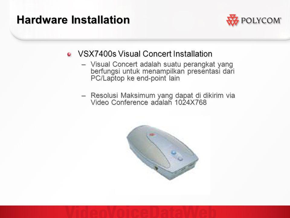 Hardware Installation VSX7400s Visual Concert Installation –Visual Concert adalah suatu perangkat yang berfungsi untuk menampilkan presentasi dari PC/