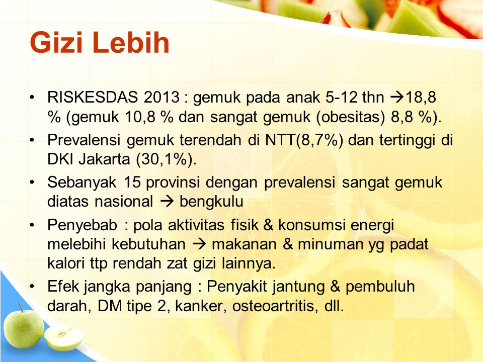 Gizi Lebih •RISKESDAS 2013 : gemuk pada anak 5-12 thn  18,8 % (gemuk 10,8 % dan sangat gemuk (obesitas) 8,8 %). •Prevalensi gemuk terendah di NTT(8,7