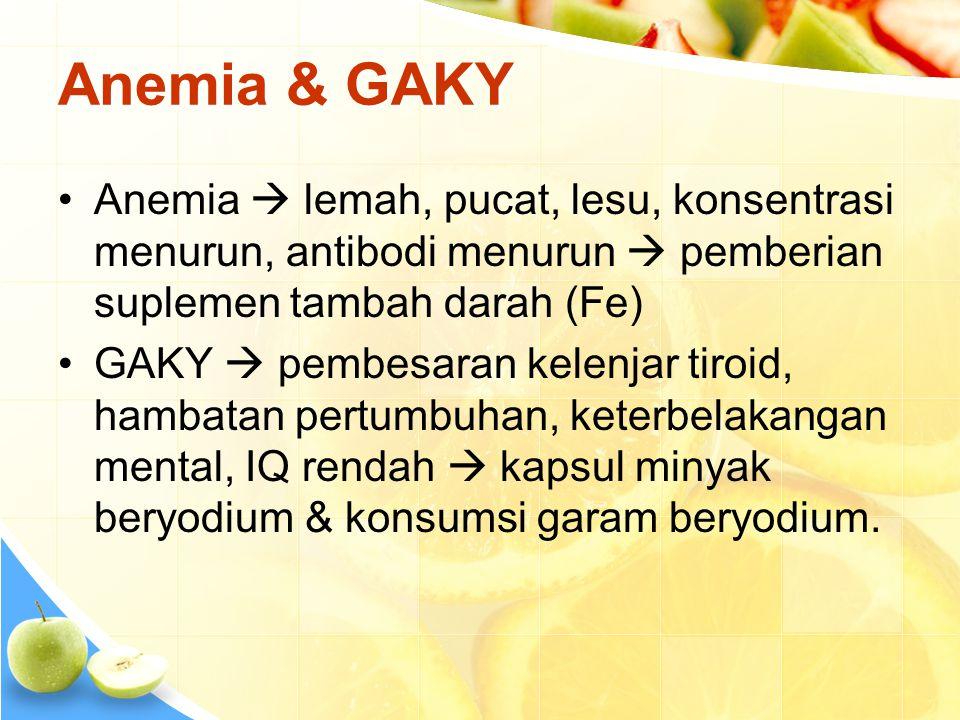 Anemia & GAKY •Anemia  lemah, pucat, lesu, konsentrasi menurun, antibodi menurun  pemberian suplemen tambah darah (Fe) •GAKY  pembesaran kelenjar t