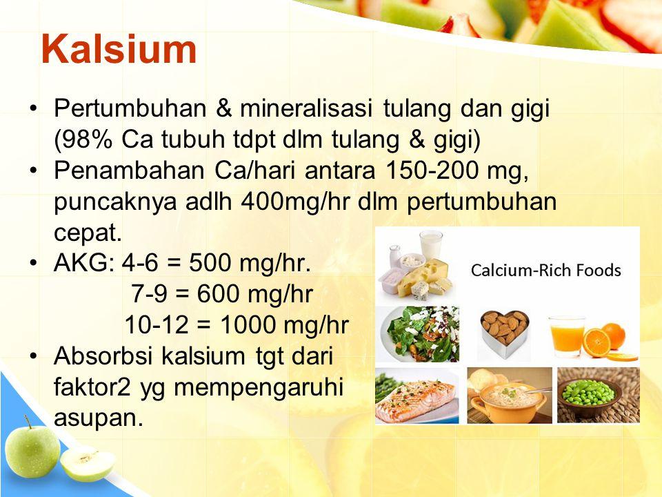 Kalsium •Pertumbuhan & mineralisasi tulang dan gigi (98% Ca tubuh tdpt dlm tulang & gigi) •Penambahan Ca/hari antara 150-200 mg, puncaknya adlh 400mg/hr dlm pertumbuhan cepat.