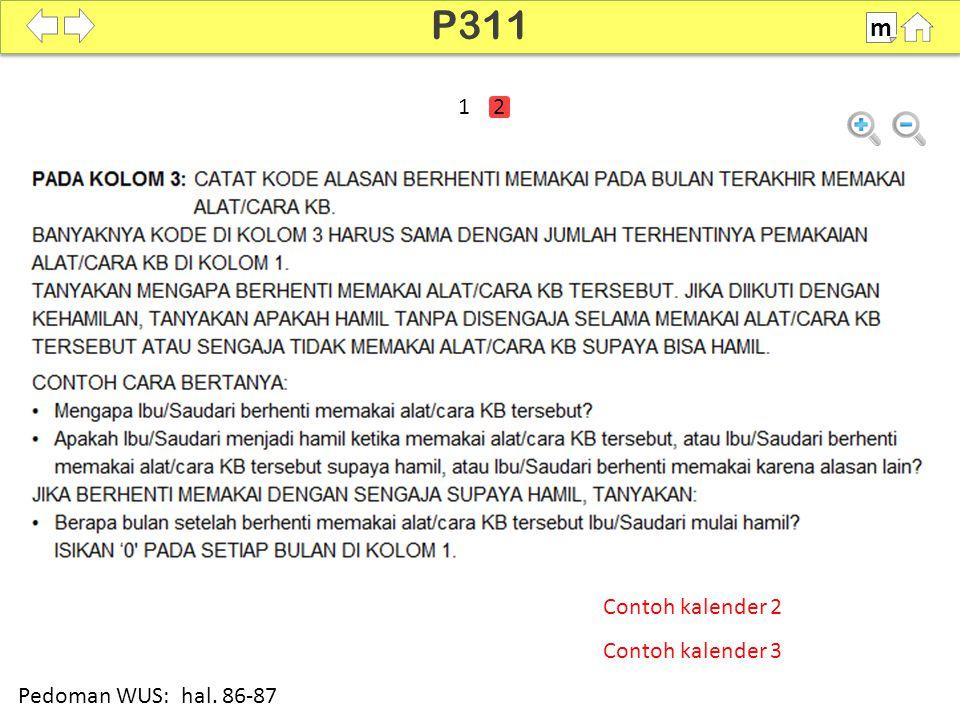 P311 m Contoh kalender 2 Contoh kalender 3 Pedoman WUS: hal. 86-87
