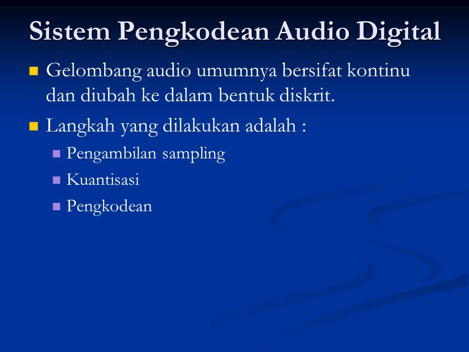 Sistem Pengkodean Audio Digital   Gelombang audio umumnya bersifat kontinu dan diubah ke dalam bentuk diskrit.