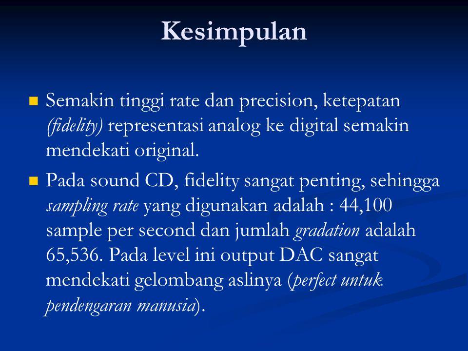 Kesimpulan   Semakin tinggi rate dan precision, ketepatan (fidelity) representasi analog ke digital semakin mendekati original.