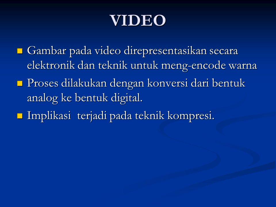VIDEO  Gambar pada video direpresentasikan secara elektronik dan teknik untuk meng-encode warna  Proses dilakukan dengan konversi dari bentuk analog ke bentuk digital.
