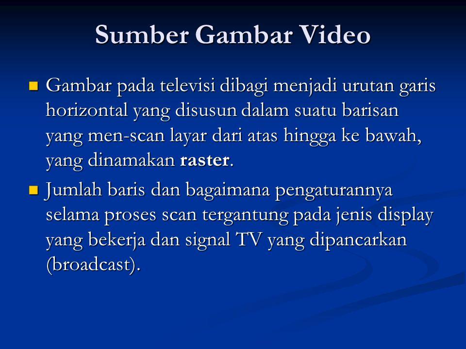 Sumber Gambar Video  Gambar pada televisi dibagi menjadi urutan garis horizontal yang disusun dalam suatu barisan yang men-scan layar dari atas hingga ke bawah, yang dinamakan raster.