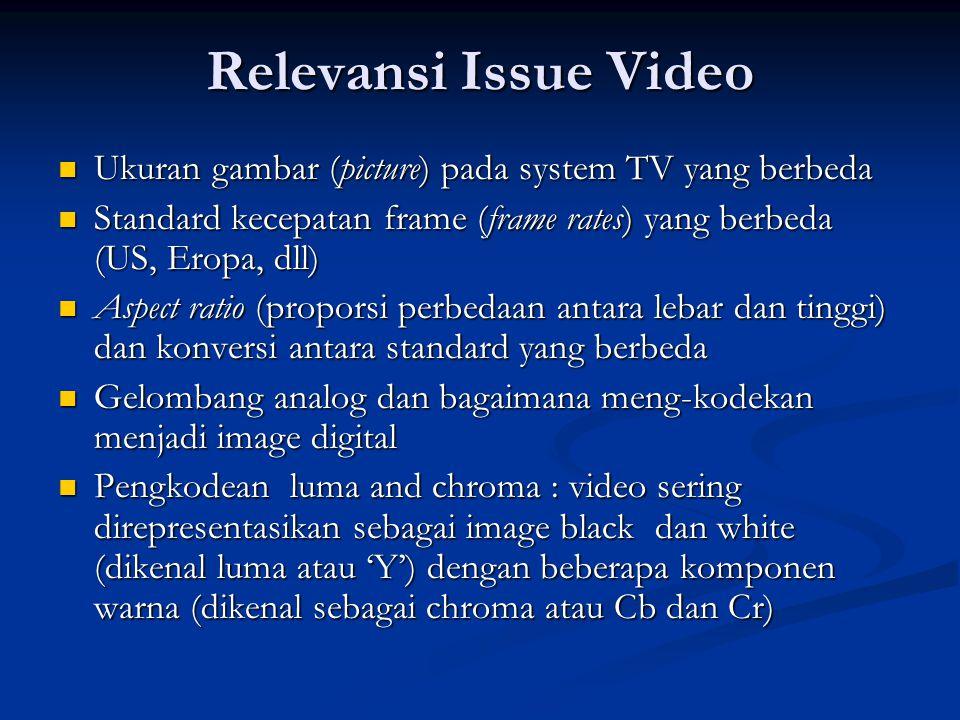 Relevansi Issue Video  Ukuran gambar (picture) pada system TV yang berbeda  Standard kecepatan frame (frame rates) yang berbeda (US, Eropa, dll)  Aspect ratio (proporsi perbedaan antara lebar dan tinggi) dan konversi antara standard yang berbeda  Gelombang analog dan bagaimana meng-kodekan menjadi image digital  Pengkodean luma and chroma : video sering direpresentasikan sebagai image black dan white (dikenal luma atau 'Y') dengan beberapa komponen warna (dikenal sebagai chroma atau Cb dan Cr)