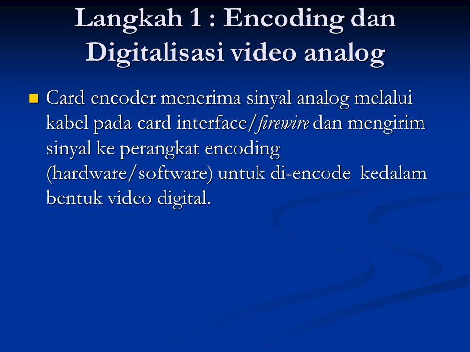 Langkah 1 : Encoding dan Digitalisasi video analog  Card encoder menerima sinyal analog melalui kabel pada card interface/firewire dan mengirim sinyal ke perangkat encoding (hardware/software) untuk di-encode kedalam bentuk video digital.