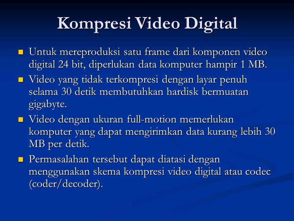 Kompresi Video Digital  Untuk mereproduksi satu frame dari komponen video digital 24 bit, diperlukan data komputer hampir 1 MB.