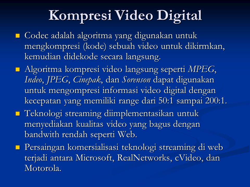 Kompresi Video Digital  Codec adalah algoritma yang digunakan untuk mengkompresi (kode) sebuah video untuk dikirmkan, kemudian didekode secara langsung.