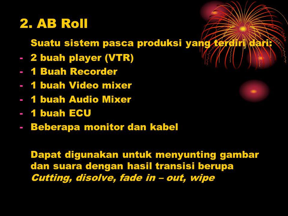 2. AB Roll Suatu sistem pasca produksi yang terdiri dari: -2 buah player (VTR) -1 Buah Recorder -1 buah Video mixer -1 buah Audio Mixer -1 buah ECU -B