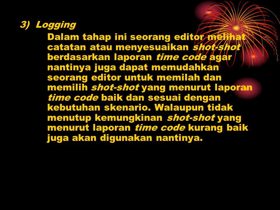 3) Logging Dalam tahap ini seorang editor melihat catatan atau menyesuaikan shot-shot berdasarkan laporan time code agar nantinya juga dapat memudahka