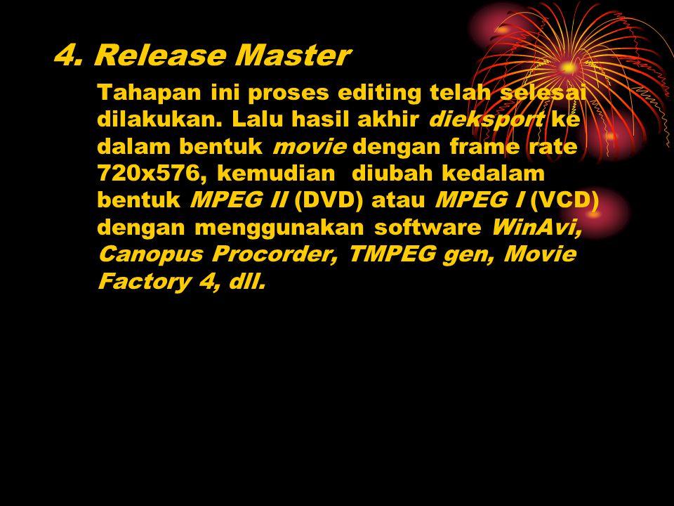 4. Release Master Tahapan ini proses editing telah selesai dilakukan. Lalu hasil akhir dieksport ke dalam bentuk movie dengan frame rate 720x576, kemu