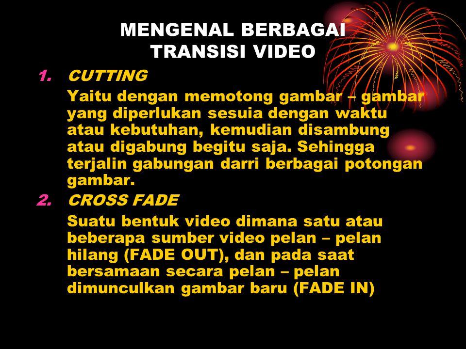 MENGENAL BERBAGAI TRANSISI VIDEO 1.CUTTING Yaitu dengan memotong gambar – gambar yang diperlukan sesuia dengan waktu atau kebutuhan, kemudian disambun
