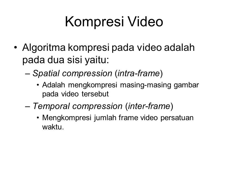 Kompresi Video •Algoritma kompresi pada video adalah pada dua sisi yaitu: –Spatial compression (intra-frame) •Adalah mengkompresi masing-masing gambar pada video tersebut –Temporal compression (inter-frame) •Mengkompresi jumlah frame video persatuan waktu.