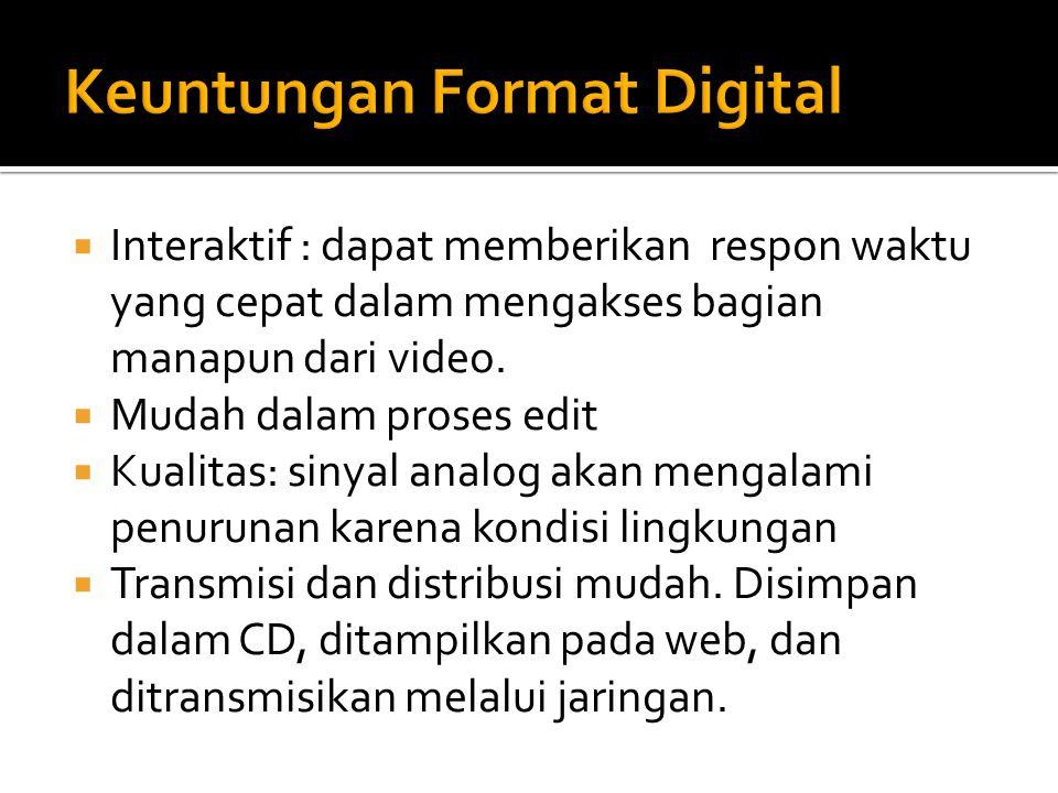 Interaktif : dapat memberikan respon waktu yang cepat dalam mengakses bagian manapun dari video.