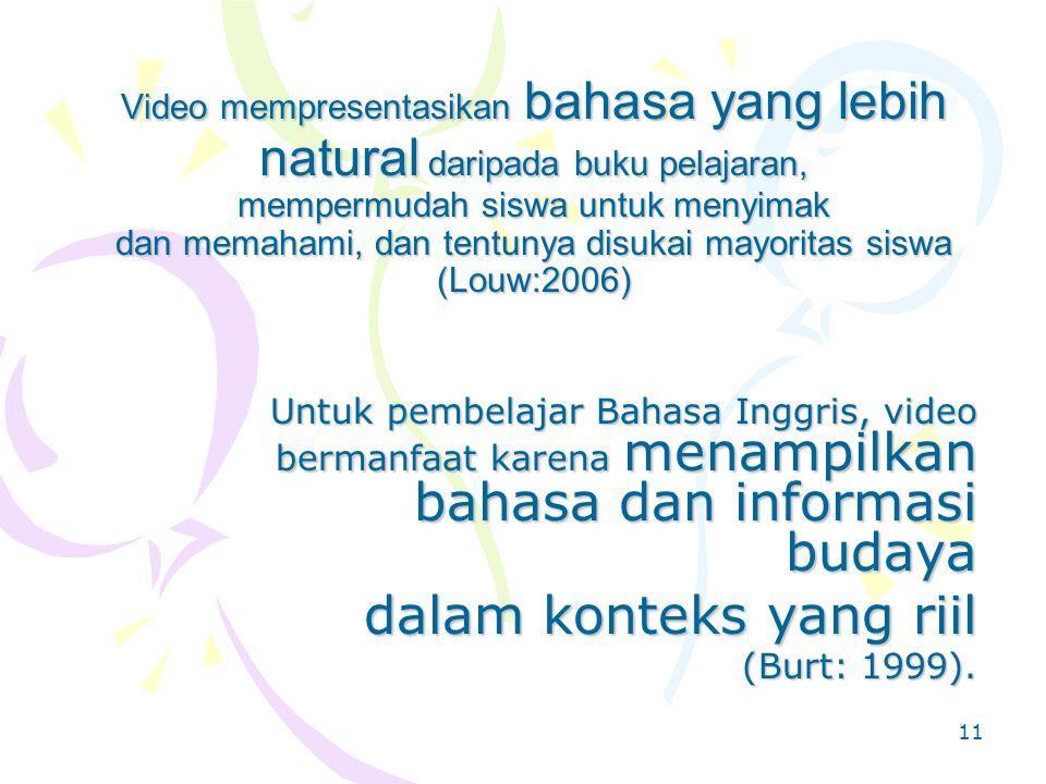 10 Video memadukan stimulan visual dan audio dan menampilkan konteks untuk pembelajaran (Fazey, 1999; Johnston, 1999 dalam Burt: 1999) Teknologi yang satu ini bukan lagi pilihan, tapi sudah merupakan kebutuhan, yang akan membawa siswa selangkah lebih maju ke dunia nyata dimana Bahasa Inggris dipakai (McKinnon: 2007)