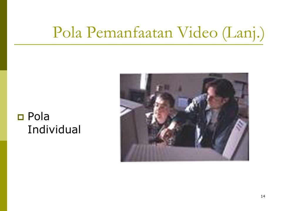 13 Pola Pemanfaatan Video (Lanj.)  Pola Kelompok Kecil Pola Kelompok Kecil