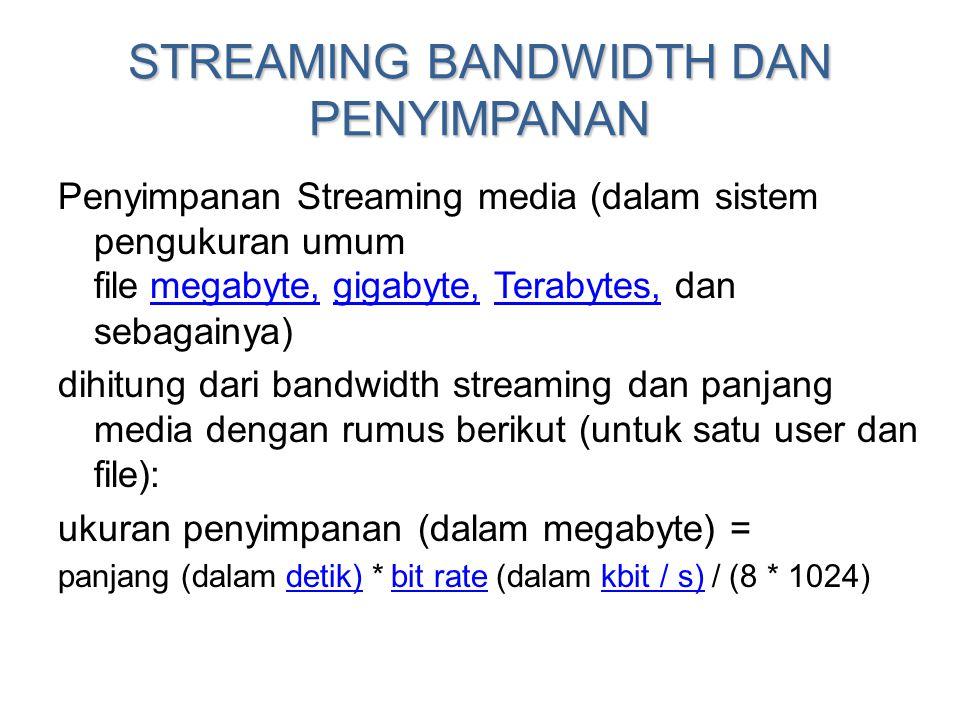 STREAMING BANDWIDTH DAN PENYIMPANAN Penyimpanan Streaming media (dalam sistem pengukuran umum file megabyte, gigabyte, Terabytes, dan sebagainya) mega