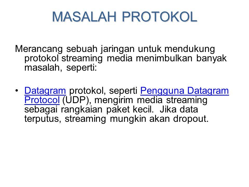 MASALAH PROTOKOL Merancang sebuah jaringan untuk mendukung protokol streaming media menimbulkan banyak masalah, seperti: •Datagram protokol, seperti P