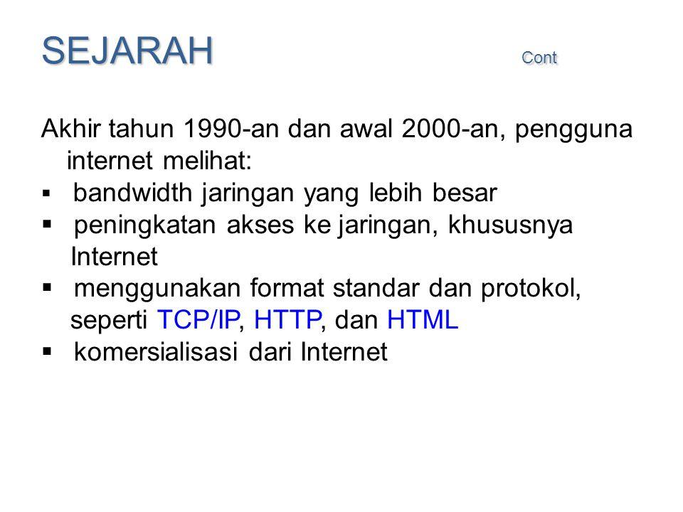 SEJARAH Cont Akhir tahun 1990-an dan awal 2000-an, pengguna internet melihat:  bandwidth jaringan yang lebih besar  peningkatan akses ke jaringan, k