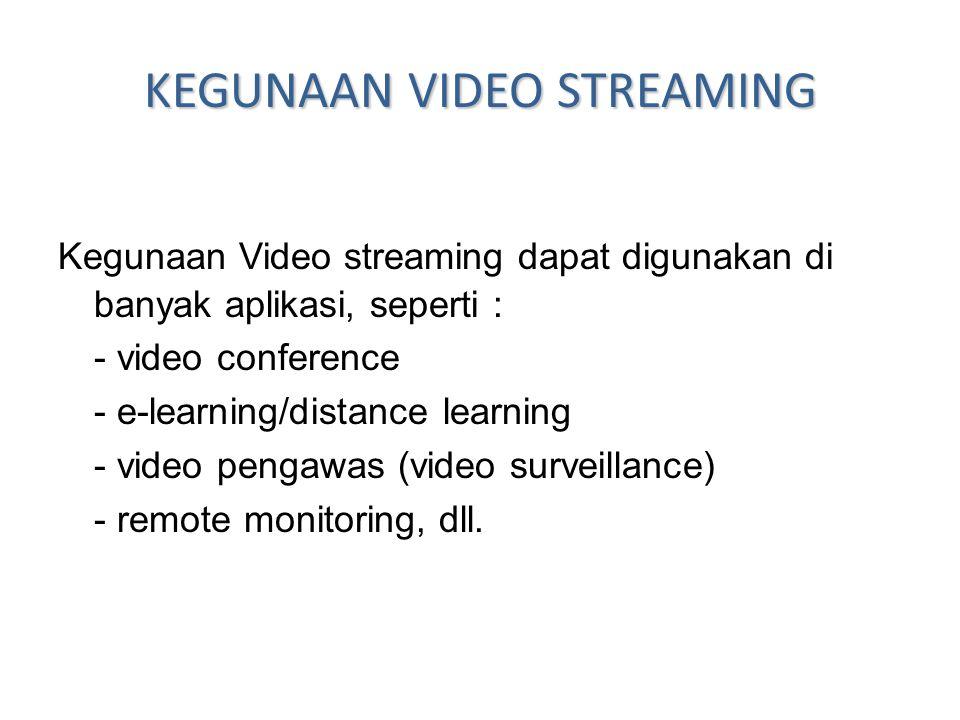 KEGUNAAN VIDEO STREAMING Kegunaan Video streaming dapat digunakan di banyak aplikasi, seperti : - video conference - e-learning/distance learning - vi