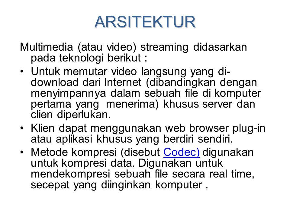 ARSITEKTUR Multimedia (atau video) streaming didasarkan pada teknologi berikut : •Untuk memutar video langsung yang di- download dari Internet (diband