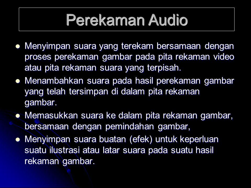  Menyimpan suara yang terekam bersamaan dengan proses perekaman gambar pada pita rekaman video atau pita rekaman suara yang terpisah.  Menambahkan s