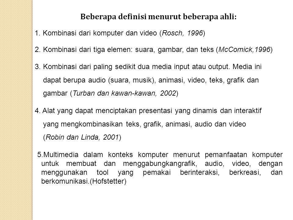Beberapa definisi menurut beberapa ahli: 1. Kombinasi dari komputer dan video (Rosch, 1996) 2. Kombinasi dari tiga elemen: suara, gambar, dan teks (Mc