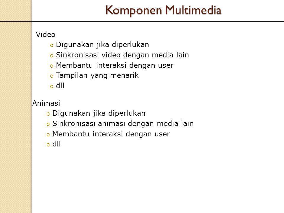 Video o Digunakan jika diperlukan o Sinkronisasi video dengan media lain o Membantu interaksi dengan user o Tampilan yang menarik o dll Animasi o Digu
