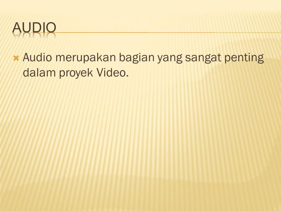  Audio merupakan bagian yang sangat penting dalam proyek Video.